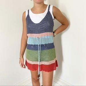 Vintage Rainbow Crochet Tank Top Tunic